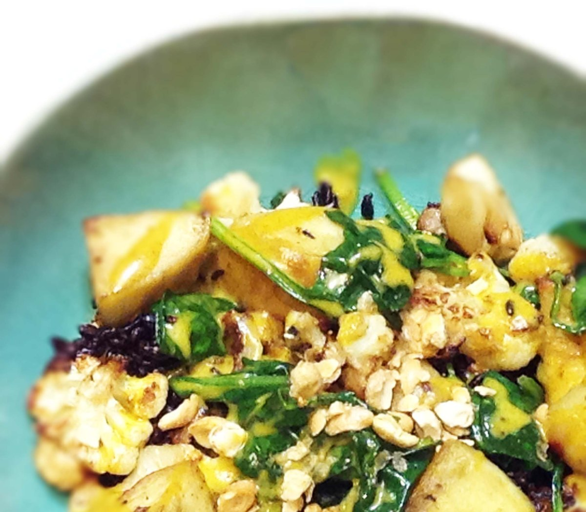 ... Potato, Spinach, and Pineapple with Curry Ginger Cardamom Cream Sauce