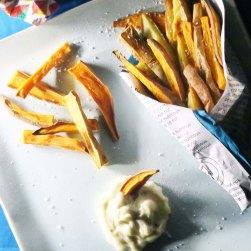 Easy Egg-Free Garlic Mayo with Sweet Potato & Yam Fries