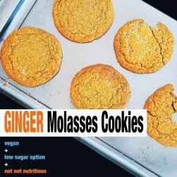 Ginger Molasses Cookies {High + Low Sugar Options}